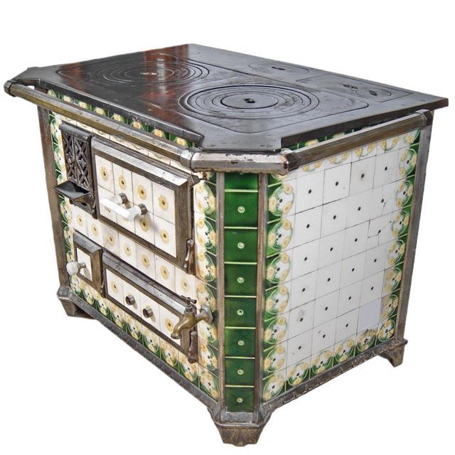 antiker franz sischer mano herd um 1900 emaille kacheln k chenherd ofen rar ebay. Black Bedroom Furniture Sets. Home Design Ideas